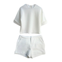 White Quilted Top & Shorts Set