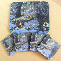 RUSTIC Mousepad-Coaster Gift Set, Forest Photo, 1 Mouse Pad, 4 Coasters