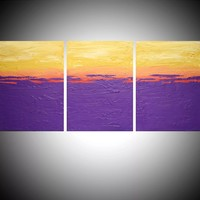 "ARTFINDER: triptych 3 panel wall art impasto textured "" Purple Flats "" orange yellow 3 panel canvas wall abstract canvas pop abstraction 48 x 20 "" other sizes available by Stuart Wright - triptych abstract painting, 3 piece canvas art ..."