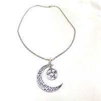 Silver Moon and Pentagram Necklace, Crescent Moon Necklace, Silver Pentagram Necklace, Wiccan Necklace, Wicca Jewelry, Boho Necklace, Gift