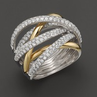 Diamond Pavé Crossover Band in 14K Yellow and White Gold, 1.70 ct. t.w.