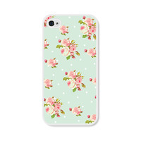 Mint Green Floral iPhone 5 Case - Plastic iPhone Case - Pastel, Coral and Pink iPhone 5 Cover Skin - Cell Phone Floral iPhone Case