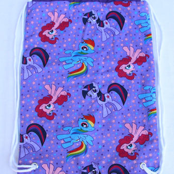 Child's Drawstring Backpack, My Little Pony, Lined Drawstring Backpack, Purple Lining, White Drawstring