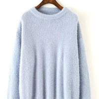 Blue Fluffy Long Sleeve Knitted Sweater