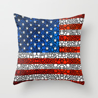 American Flag - USA Stone Rock'd Art United States Of America Throw Pillow by Sharon Cummings