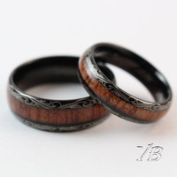 voguebands Tungsten Rings Wood Inlay Square Design Comfort Fit for men and women (8mm/6mm)