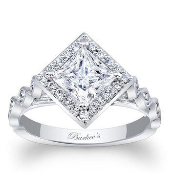Barkev's Halo Prong Set Princess Cut Diamond Engagement Ring