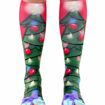 Christmas Tree Knee High Socks