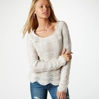 AE Scalloped Open Stitch Sweater | American Eagle Outfitters