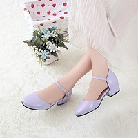 Covered Toe Ankle Strap Sandals Chunky Heel Pumps 8773