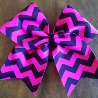 Cheer Bow - Hot Pink Chevron