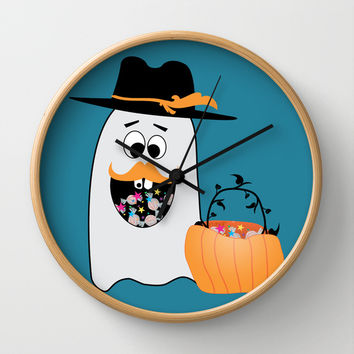 Silly Halloween Ghost Wants Your Candy Wall Clock by PLdesign | Society6
