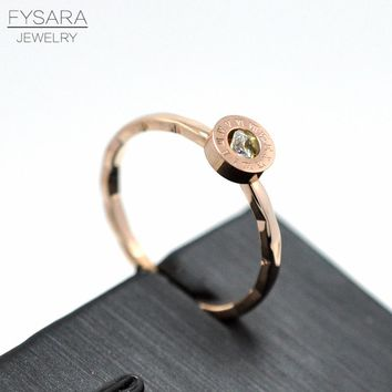 FYSARA Crystal Round Roman Numerals 2mm Thin Rings For Lover Women Jewelry Men Engagement Party Stainless Steel Rose Gold Rings