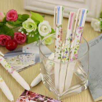 1pcs Lovely Floral Natural Words Style 4 In1 Ballpoint Pens Office Stationery Ballpoint Pen School Supplier