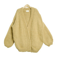 Thick Balloon Sleeved Hand-Made Cardigan