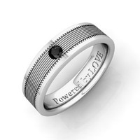 Engraved Mens Black Diamond Wedding Band Comfort Fit in 14k White Gold (0.10 cttw) 5MM, Powered by LOVE