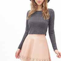 FOREVER 21 Scalloped Faux Leather Skirt Peach