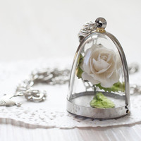 Necklace White Rose - Miniature in Bottle - Terrarium necklace - Free Shipping