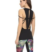 Black Strappy Cut-Out Backless Tank Top