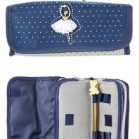 New Arrival Big Capacity High Quality Two Layer Oxford Cloth Ballet Girl Pen Pencil Stationery Bag Holder Case for School Students Makeup Cosmetic Box (Light Gray)
