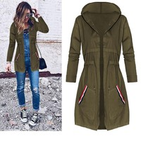 Green Thin Section Long Hooded Trench Coat