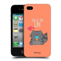 Head Case Designs Happy Wilbur the Cat Protective Snap-on Hard Back Case Cover for Apple iPhone 4 4S