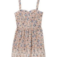 Teens Pink Ditsy Floral Hudson Button Front Dress