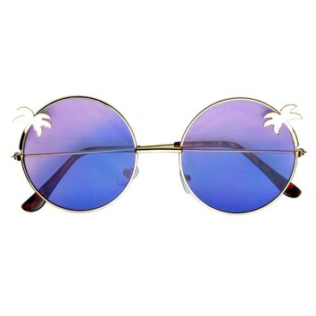 Indie Palm Tree Gradient Lens Round Hippie Sunglasses