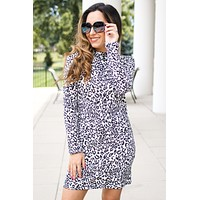 Knit Keyhole Back Leopard Dress