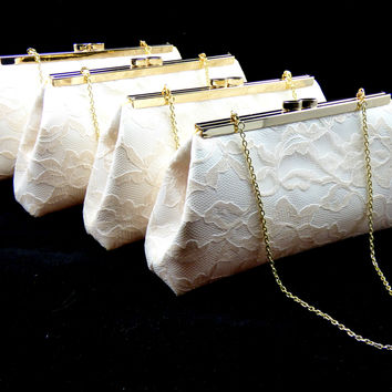 Set of Four Ivory, Champagne Lace and Yellow Bridesmaid Gift Clutches 5% Off