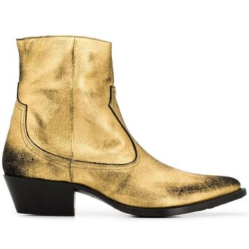 Dusted Metallic Gold Zip Boots by Amiri