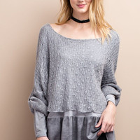 Oil Washed Baby Doll Tunic - Grey