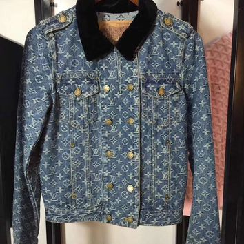 Louis Vuitton Loose Denim Letter  Fashion All-match Long Sleeve Jacket