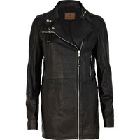 Black perforated leather jacket - leather / leather look jackets - coats / jackets - women