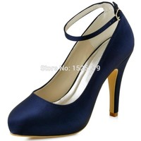 Women Shoes EP11049-IP Navy Blue Teal Bride Bridesmaids Closed Teo High Heel Pumps Ankle Buckles Satin Wedding Bridal Shoes