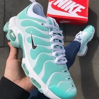 Nike Air Max Plus TN Trending Men Woman Personality Running Sneakers Sport Shoes Mint Green White(Black Hook) I