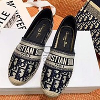Dior CD hand-embroidered fisherman shoes one-step shoes women's shoes slippers canvas shoes