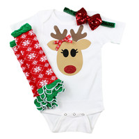 Reindeer Baby Girls Christmas Outfit with Leg Warmers and Sparkly Bow on Headband | Snowflake Reindeer baby leg warmer Christmas Outfit