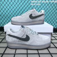 DCCK2 N177 Nike Air Force 1 Low Suede Velcro Fashion Causal Skate Shoes Grey