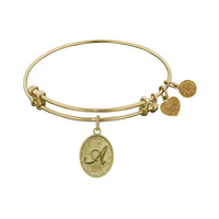 Non-Antique Yellow Stipple Finish Brass Initial A Angelica Bangle, 7.25 Inches Adjustable