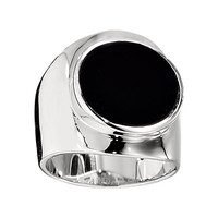 Contemporary Sterling Silver Black Agate Ring, LOVE, HOPE TRUST Collection