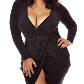 Plus Size Clubwear Deep V Neck Low Cut High Low Wrap Dress Bandage Bodycon Dress Ruched New Arrival 2016 Womens Sexy Dresses New