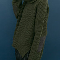 Dark Green High Neck Elbow Patch Split Sweater