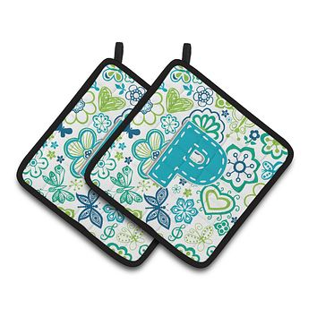 Letter P Flowers and Butterflies Teal Blue Pair of Pot Holders CJ2006-PPTHD