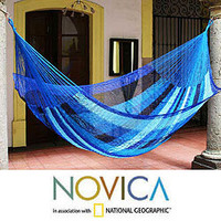 Hand-woven Large Deluxe Blue Caribbean Hammock (Mexico)   Overstock.com