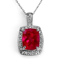 Jared - Lab-Created Ruby Necklace Sterling Silver