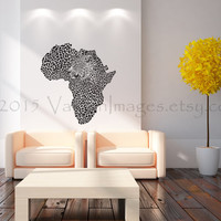 Map of Africa with cheetah image wall decal, wall sticker, leopard print wall decal, ocelot, vinyl wall decal, home decor, safari, wall art