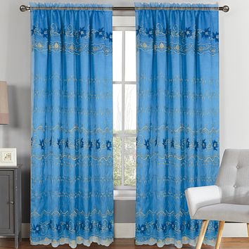 Natasha  - Embroidered Panel With Backing - Curtains
