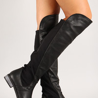Solid Leatherette Round Toe Thigh High Boot