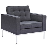 Button Arm Chair in Wool, Gray